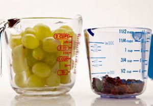 انگور در مقایسه با کشمش