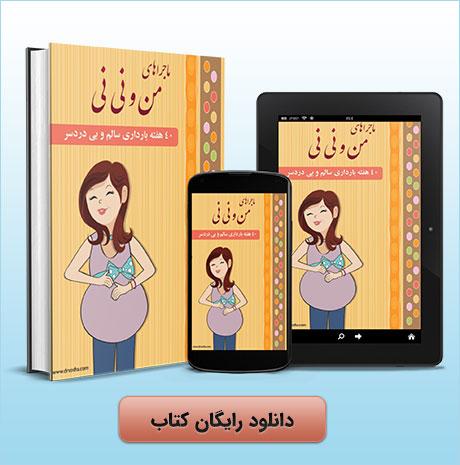 """کتاب ۴۰ هفته بارداری سالم و بی دردسر """" ماجراهای من و نی نی """" سمت راست 1"""